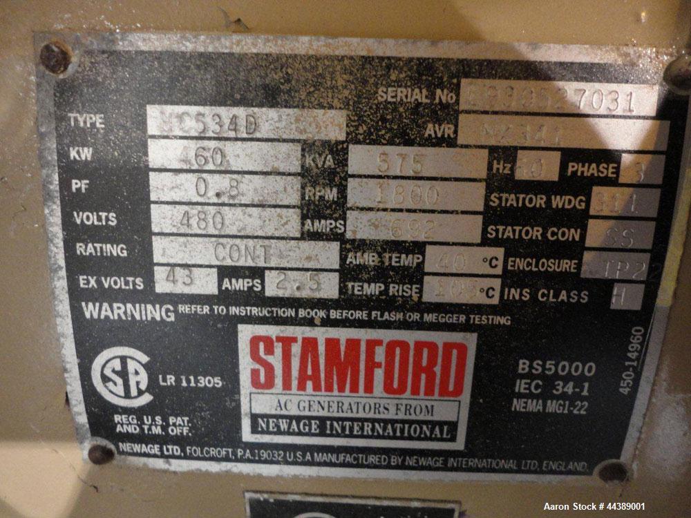 Used- Cummins 425 kW standby (400kW prime) natural gas generator set. Cummins model GTA28C natural gas engine rated 600 HP @...