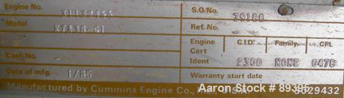 Used- Cummins 775 kW Diesel Generator Set. Cummins model KTA38-GI engine, serial #31132466, rated 1135 hp at 1800 rpm. O'Bri...