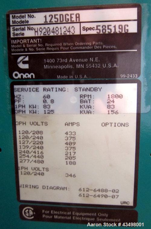 Used- Cummins 125kW Diesel Generator Set, model 125DGEA, serial H920481242. Cummins model 6CT8.3-G engine rated 207 hp @ 180...