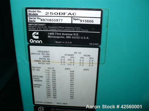 Used-Cummins/Onan 250 kW Diesel Generator Set. Cummins model 250DFAC, 3/60/480V. Power Command digital control panel. Weathe...