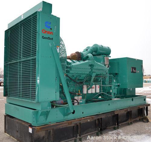 Used- Cummins / Onan 900kW Diesel Generator Set. Cummins model DFJC, SN-I940555062. Cummins KTA 38-G3 engine SN-33127399, ra...
