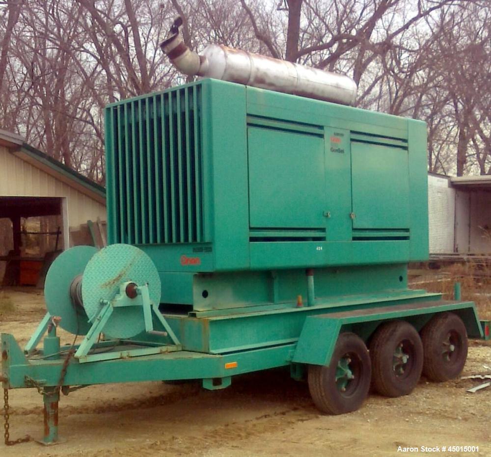 Used-Cummins Onan 300 kW Diesel Generator Set on Trailer, engine model MTTA355-6, Onan 17R27365M, with triple axle trailer, ...