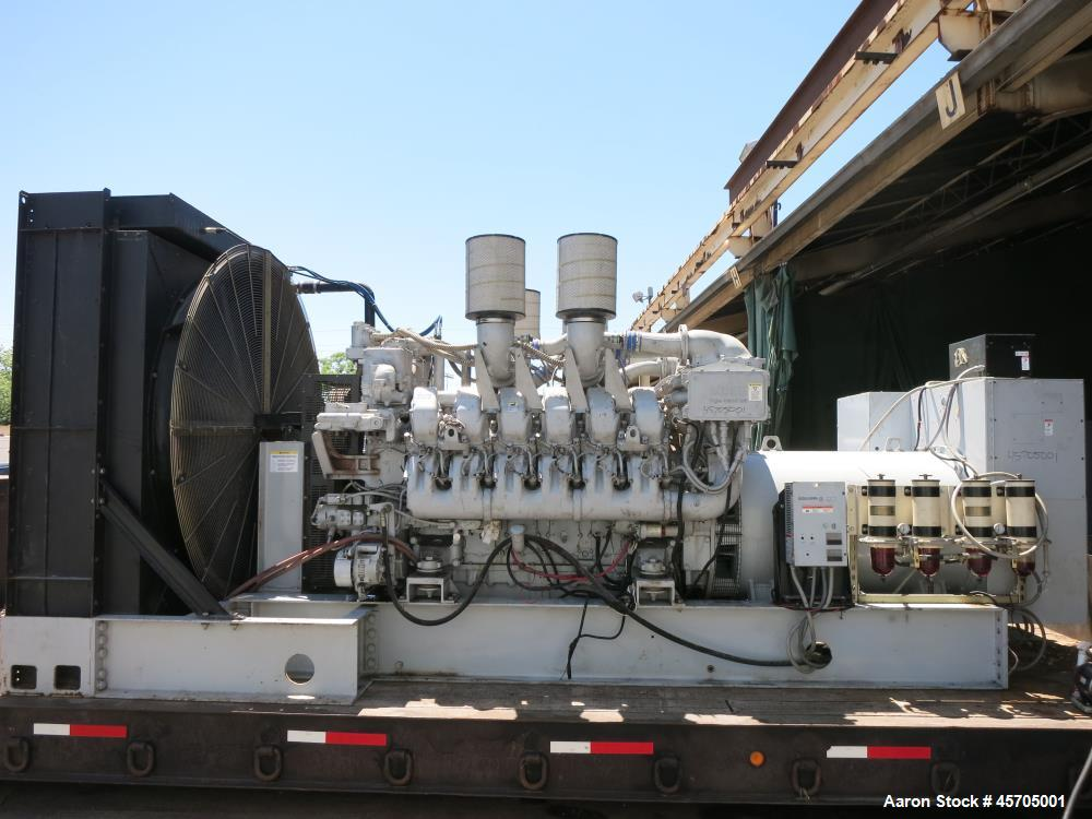 Used-Detroit Diesel / MTU 1360 kW diesel generator. MTU model 12V4000 engine