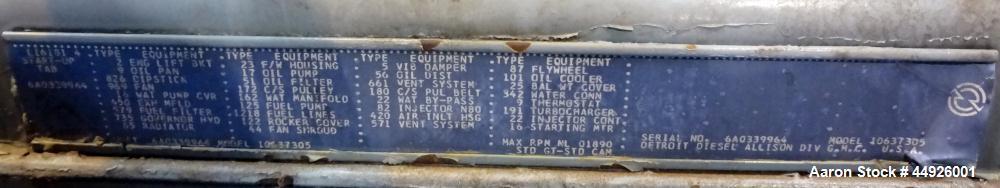 Used- Detroit Diesel 250kW Diesel Generator Set.  Detroit Diesel 6V-71T engine SN-6A0339964. 3/60/277/480V.  514 Hours.  Pas...