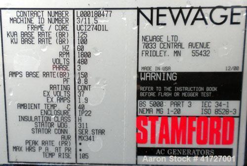 Used- Elektryon 100 kW Cont Rated Natural Gas Generator Set. GM 454 natural gas engine. Stamford NewAge generator end 3/60/4...
