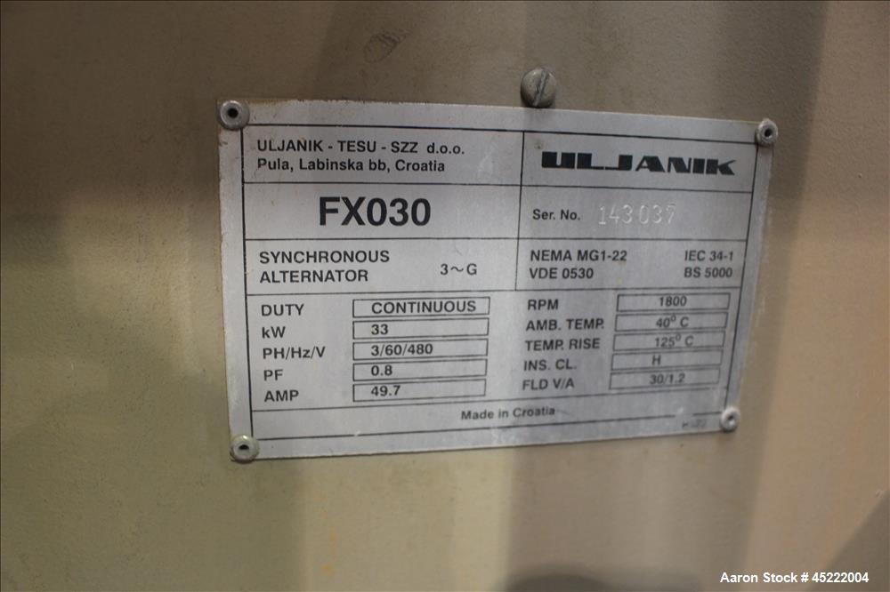 Used- Uljanik 33 kW diesel generator, model FX030, serial#143037, continuous duty, 3/60/480 volts, with a sound enclosure ho...