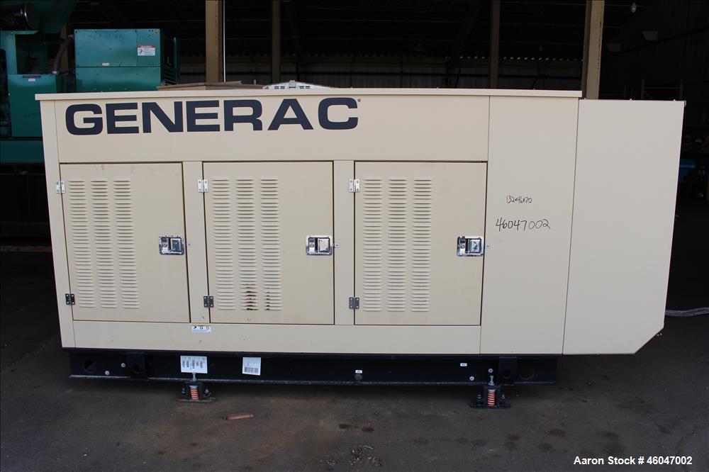 Used- Generac 150 kW standby natural gas generator set, model 10253980100, SN-2099763. Generac 6.8L V-10 engine, model WSG10...
