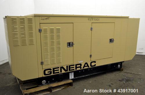 Used- Generac 60 kW Standby Natural Gas Generator Set, Model 6505970200, Serial #2088157. 3/60/120/208V, 200 Amp mainline ci...