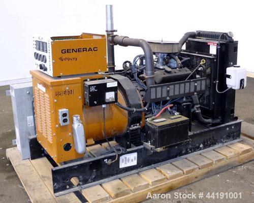 Used- Generac 45 kW Natural Gas Generator Set. Generac model 98A06656-S, serial #2045168. Generac 4.3L engine. 3/60/120/240V...