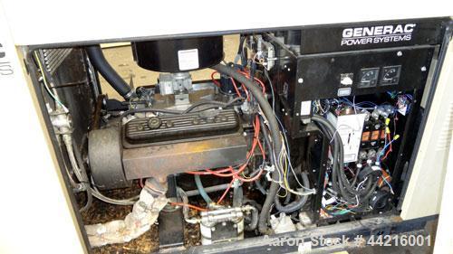 Used- Generac 50 kW prime rated natural gas generator set, model DG 50 SN-3675473. Generac 5.7L engine rated 74 HP @ 1800 RP...
