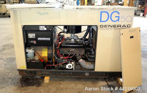 Used- Generac 50 kW prime rated natural gas generator set, model DG 50 SN-3675472. Generac 5.7L engine rated 74 HP @ 1800 RP...