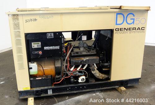 Used- Generac 50 kW prime rated natural gas generator set, model DG 50 SN-3664156. Generac 5.7L engine rated 74 HP @ 1800 RP...