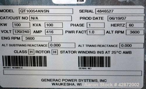 Used- Generac 100 kW Natural Gas Generator Set,Model QT10054ANSN Serial 4846527, 1/60/120/240V. 450 Amp main-line circuit br...