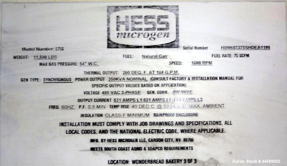 Unused-Hess Microgen 400 kW continuous rated natural gas generator set. Dawoo engine model GV222 TI 22 liter SN-EEYOA200217....