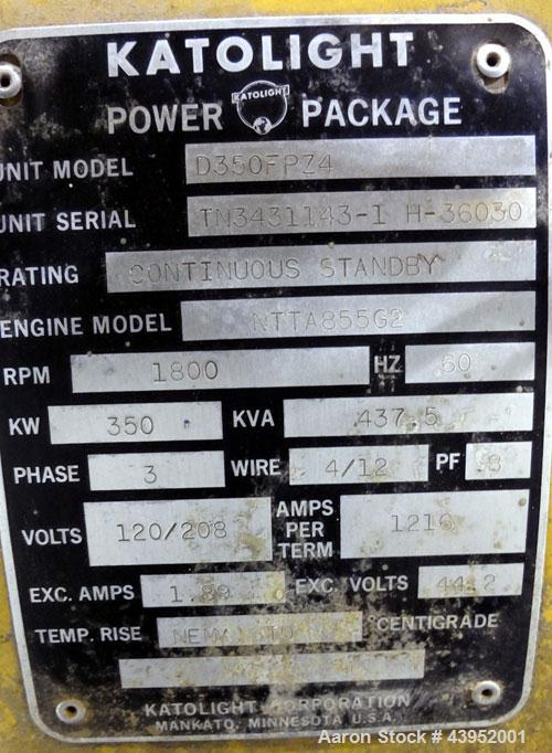 Used- Cummins / Katolight 350 kW diesel generator. Cummins NTTA855 G2 engine.