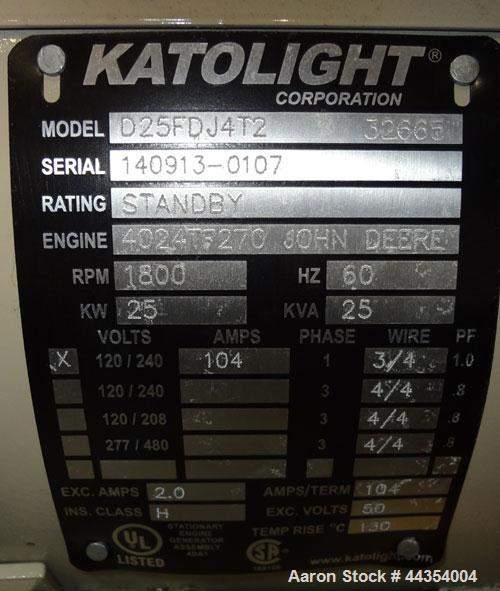 Used- Katolight 25 kW Standby (20kW Prime) Diesel Generator Set, model D25FDJ4T2, serial #140913-0107. John Deere model 4042...