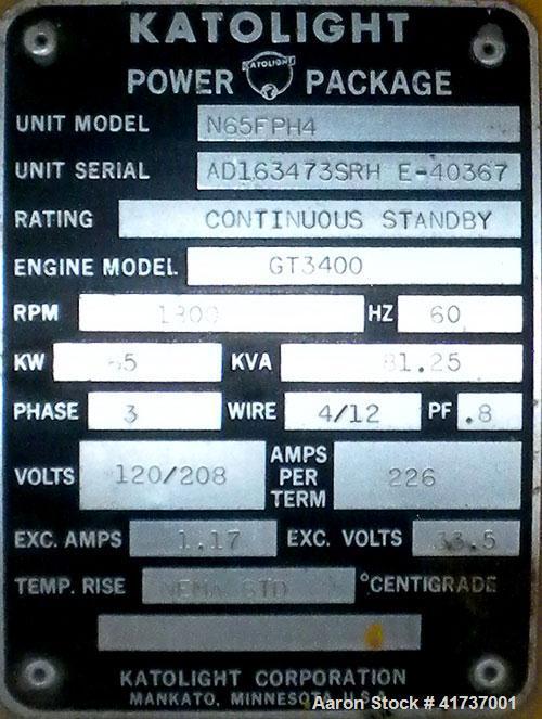 Used- Katolight 65 kW Natural Gas Generator Set. Katolight unit model N65FPH4, unit SN-AD163473SRH E-40367. Hercules model G...