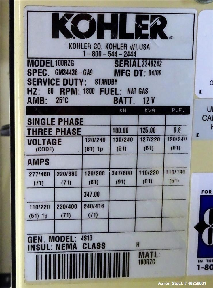 Used- Kohler 100 kW  Natural Gas Generator, Model 100RZG. GM 8.1L engine
