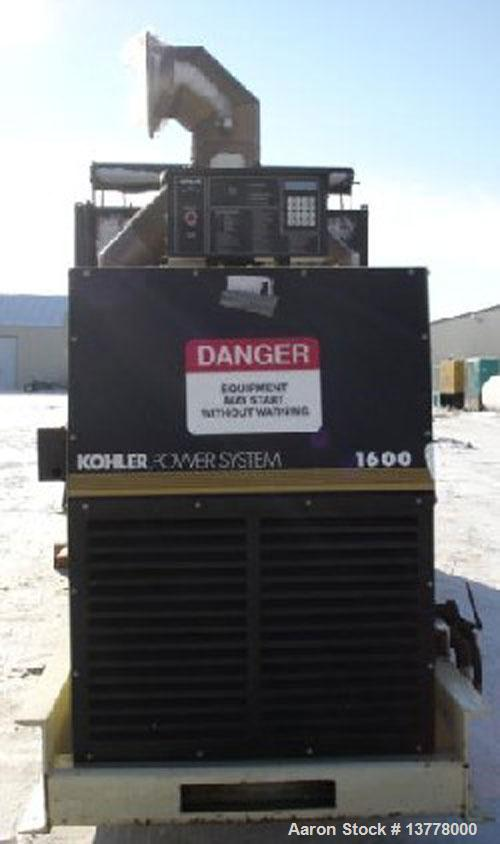 Used-Kohler 1600 kW standby rated diesel generator set, model 1600ROZD. 3/60/277-480 volts, 1800 rpm, 0.8 PF, 24 battery vol...