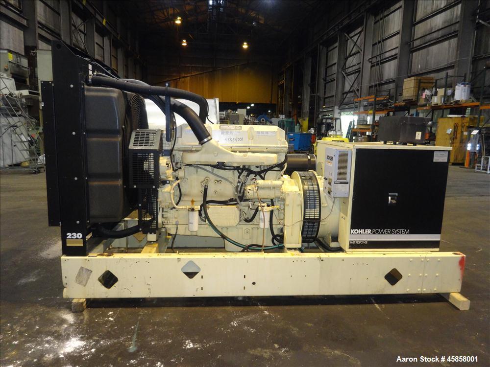 Used- Kohler 240 kW standby (215 kW prime) diesel generator set, model 230REOZD