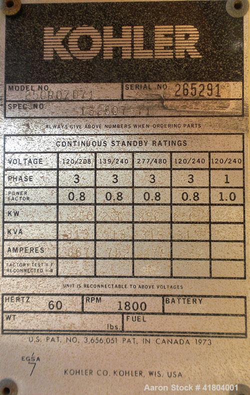 Used- Kohler 250 kW Diesel Genset. Kohler model 250ROZD71, serial #265291. Detroit 6V-92TA, turbocharged aftercooled engine ...
