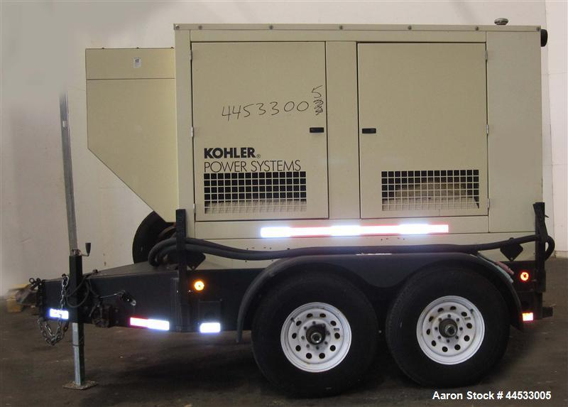 Used- Kohler 33 kW prime rated, portable / trailer mounted, diesel generator set, model 30REOZJB, SN-0792225.  John Deere 30...