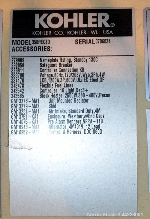 Used- Kohler 350 kW standby diesel generator set, model 350REOZD SN-0706034. Detroit Diesel Series 60 (4-stroke) engine rate...