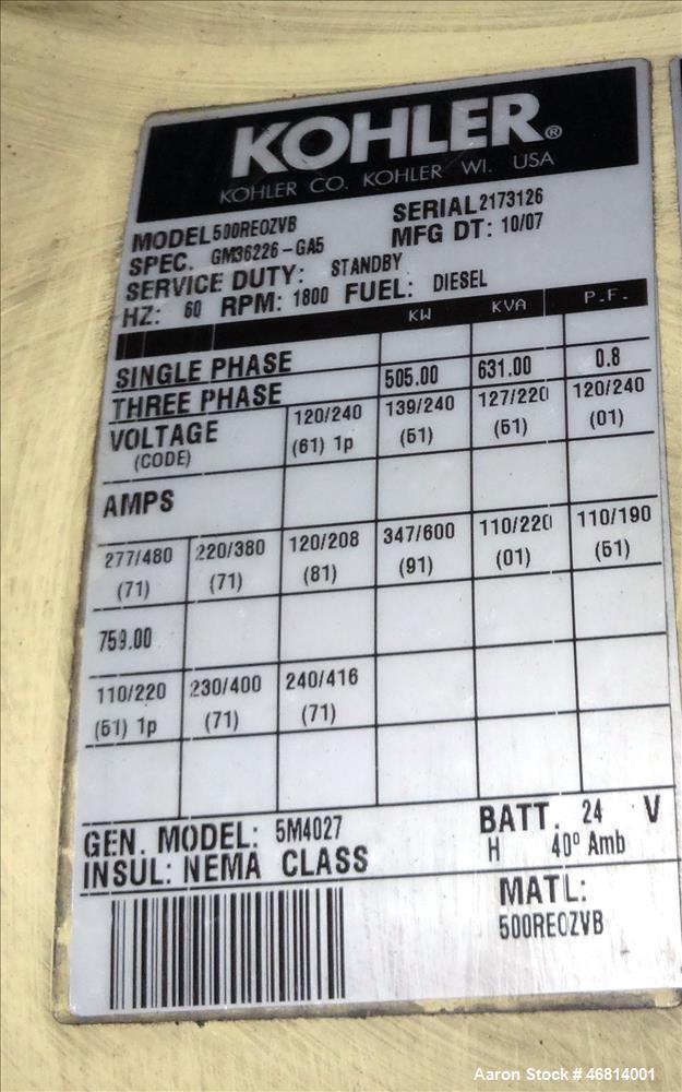 Used- Kohler 505 kW diesel generator. Volvo Penta TAD1641GE engine EPA Tier 2 ce