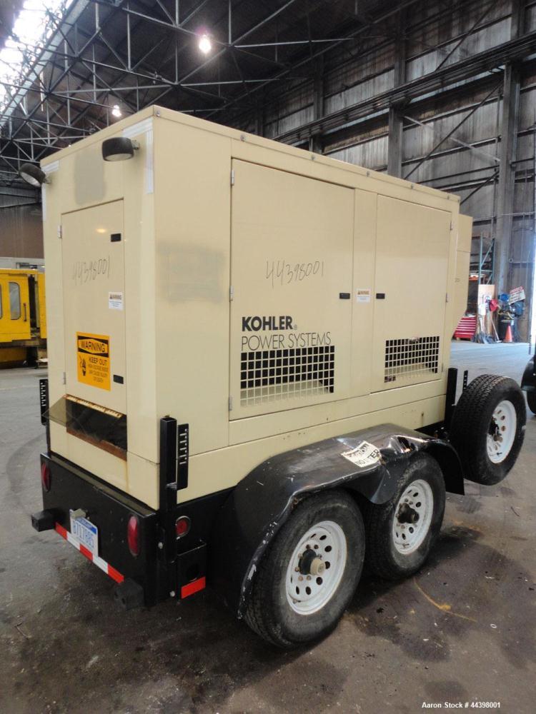 Used- Kohler 62 kW Standby (57kW prime) Diesel Generator Set, trailer mounted, model 60REOZJB, serial #2131576.  John Deere ...