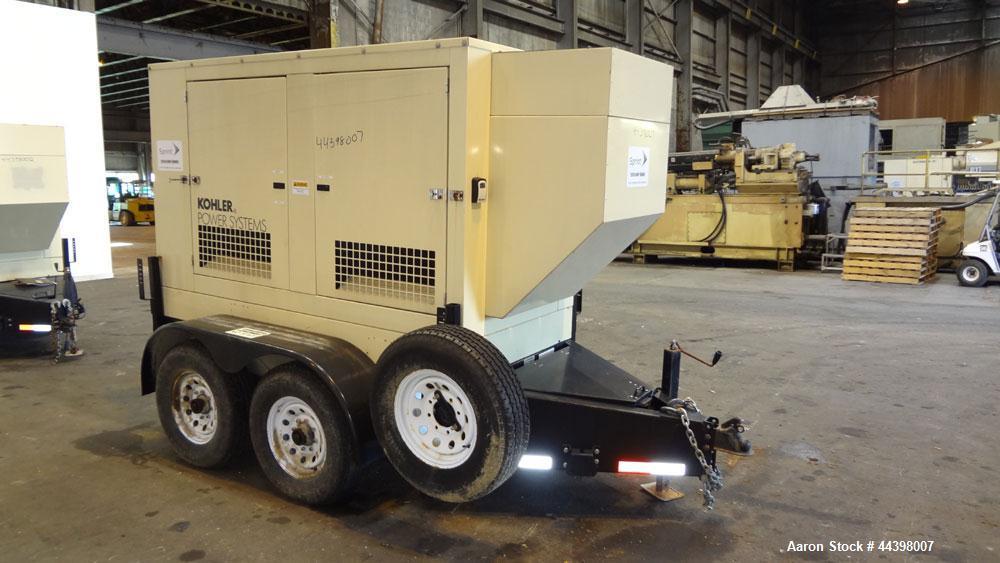 Used-John Deere / Kohler 55 kW Standby (50 kW prime) diesel generator set, portable / trailer mounted, model 50REOZJB,  SN-2...