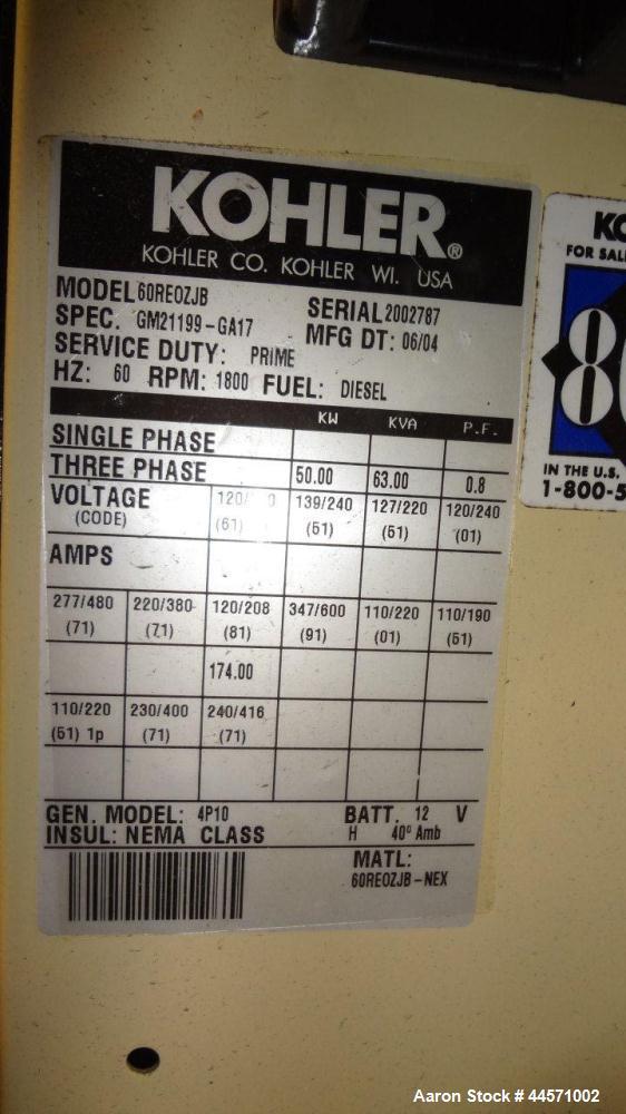 Used- Kohler 54 kW standby (50kW prime) diesel generator set, trailer mounted, model 60REOZJB, SN-2002787. John Deere 4045TF...