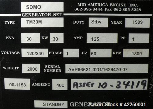 Used- Mitsubishi/SDMO 30 kW Diesel Genset, 1/60/120/240V. SDMO M 150, type TM30M, SN-AVP86621-02G/1629470-07. 125 Amp. 1 hr....