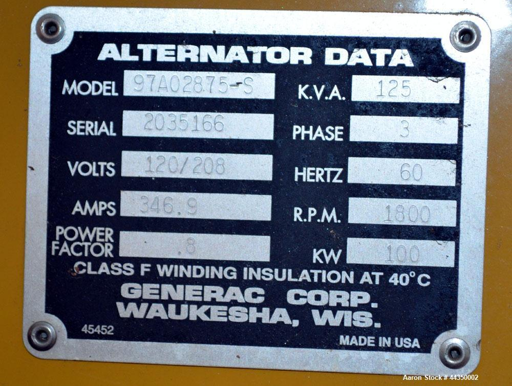 Used- CAT / Olympian 100 kW Natural Gas Generator Set, Model 97A02875-S, Serial #2035166. Generac 7.4 liter engine. 3/60/120...