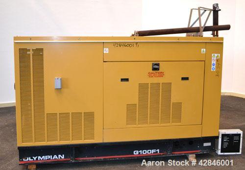 Used- CAT / Olympian 100 kW natural gas generator set, model G100F1 SN- E4640A/001. 3/60/120/208V. 400 Amp main-line circuit...
