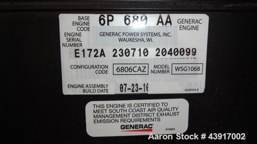 Used- Siemens 150 kW Natural Gas Generator, Model T15068KNSY, SN-6065578. 3//60/277/480V. Generac WSG1068 engine 2010 EPA ce...