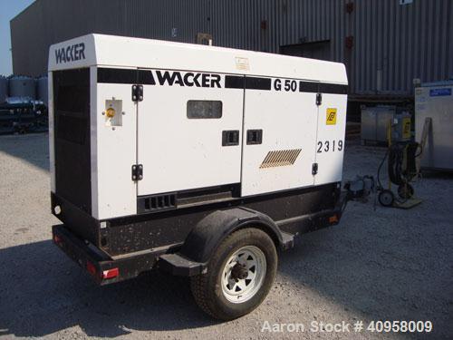 Used- Wacker G50 Mobile Diesel Generator Set, 42 kW standby, 38 kW prime. John Deere model 4045DF270D engine, serial# PE4045...