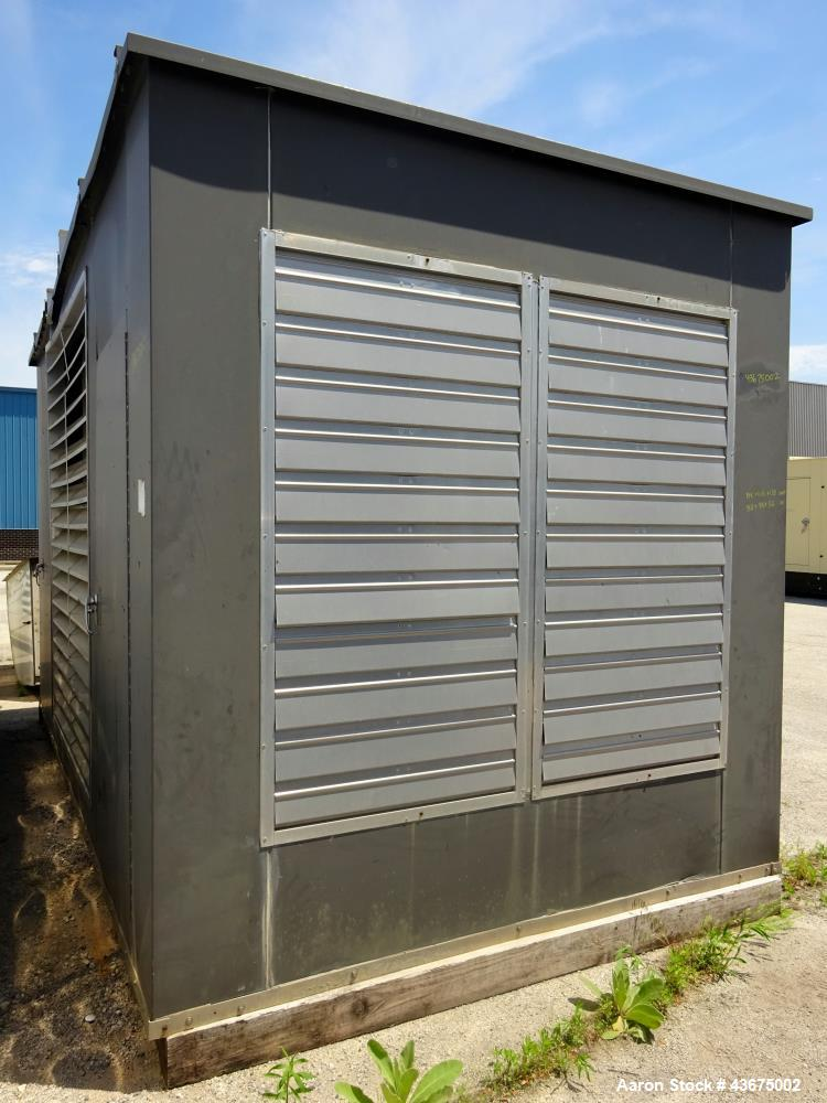 "Used- Generator Enclosure. Last used on Cummins model DFGB-5568535 600 kW generator. Inside dimensions 192"" long x 98"" wide ..."