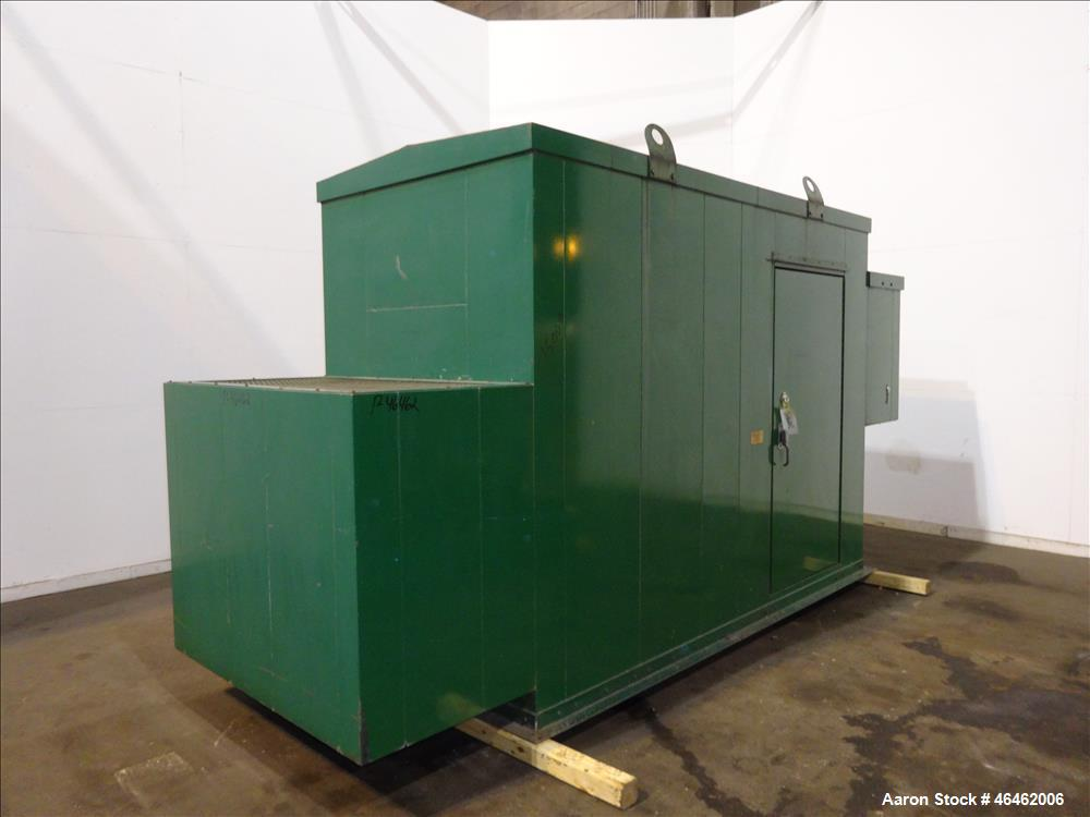 """Used- Sound Attenuated Enclosure. Last used for Cummins 100kW genset. Internal dimensions: 126""""L x 60""""W x 90""""H."""