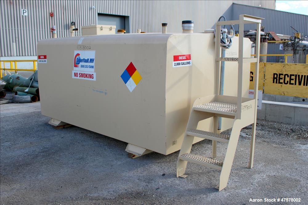 Used- Dunn Industries SuperVault MH Multi-Hazard Rated Aboveground Fuel Storage Tank, 2000 Gallon, Carbon Steel, Horizontal....