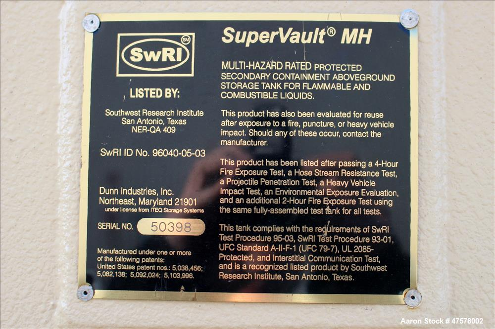 Used- Dunn Industries SuperVault MH Multi-Hazard Rated Aboveground Fuel Storage Tank, 2000 Gallon, Carbon Steel, Horizontal....