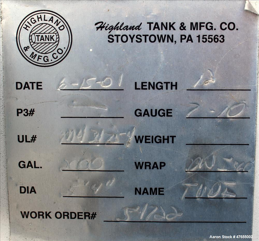 "Used- Highland Tank & Manufacturing Fuel  Tank, 2000 Gallon, Carbon Steel, Horizontal. Approximate 64"" diameter x 144"" strai..."