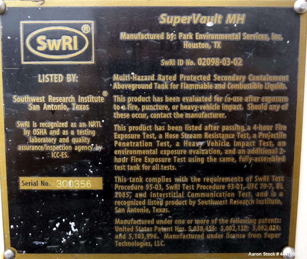 Used- Park Environmental Services Supervault, Model MH-D4-5000.