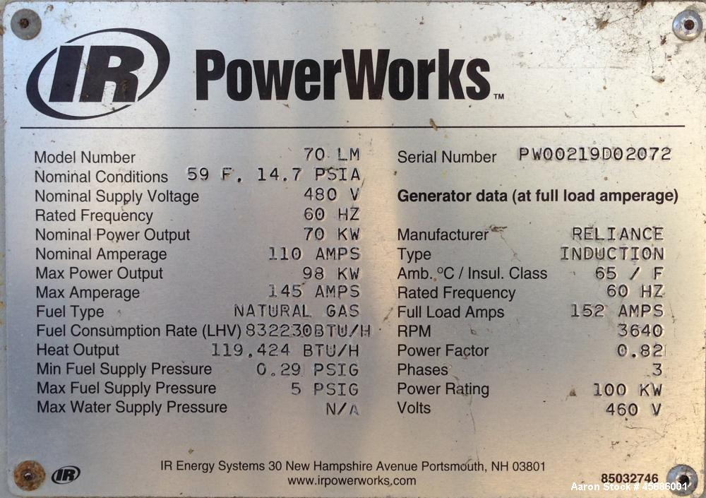 Used- Ingersoll-Rand PowerWorks 70 kW microturbine natural gas generator, model