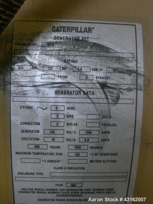 Used- Caterpillar Standby Diesel Generator. Unit rated  900 kva, 720 kW, 400 volt, 50 hz. Unit is mounted inside acoustic bo...