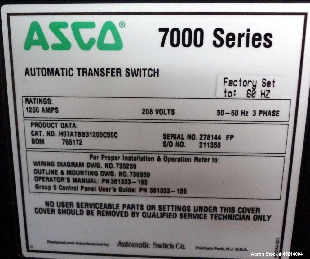 Used- Asco 7000 Series Automatic Transfer and Bypass Isolation Switch.
