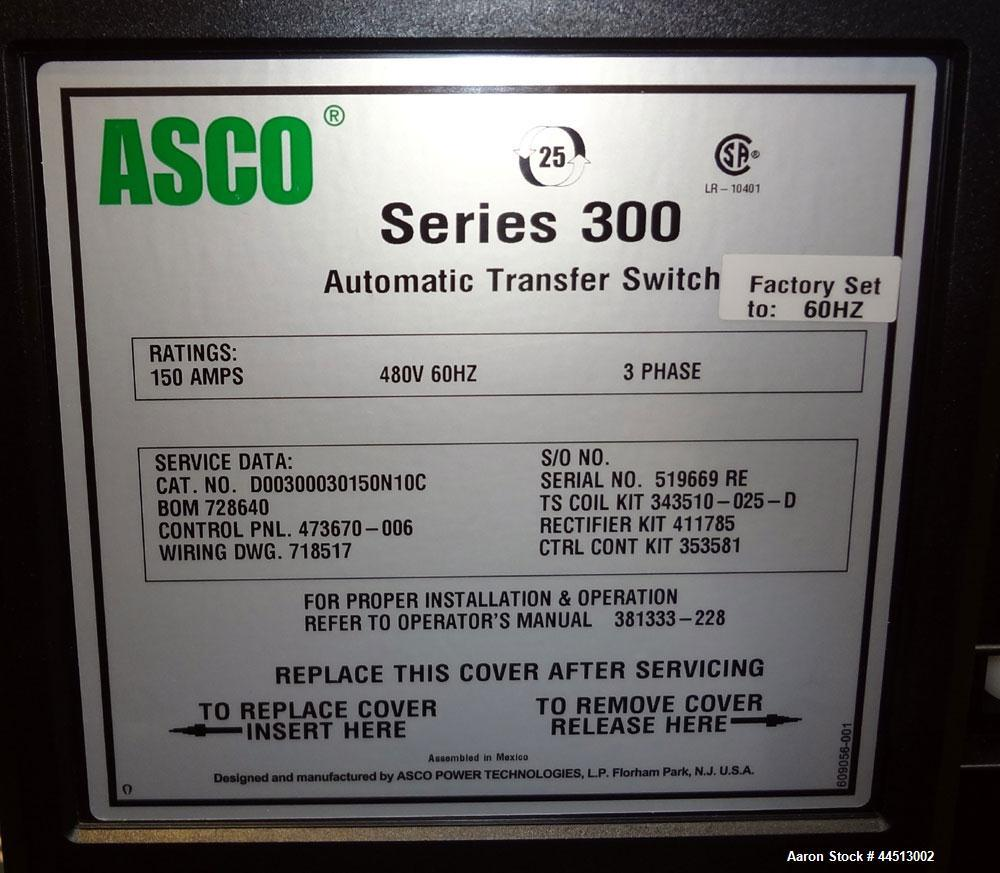 Used- Asco Series 300 150 Amp Automatic Transfer Switch. Catalog#D00300030150N10C, 3/60/480 volt. Nema 1 enclosure, UL appro...