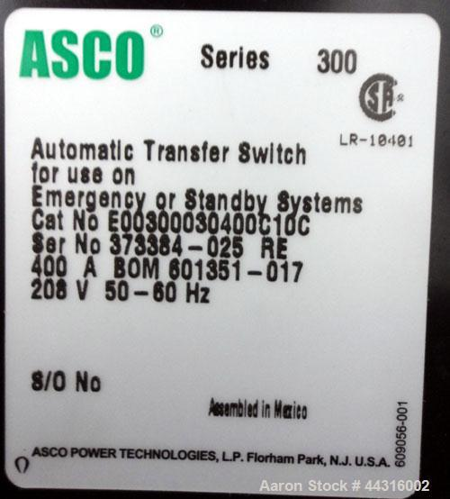 Used- Asco 300 Series Power Transfer Switch, 400 Amps, 3/50-60/208 volts. Cat# E00300030400C10C, UL Listed, type 1 enclosure.