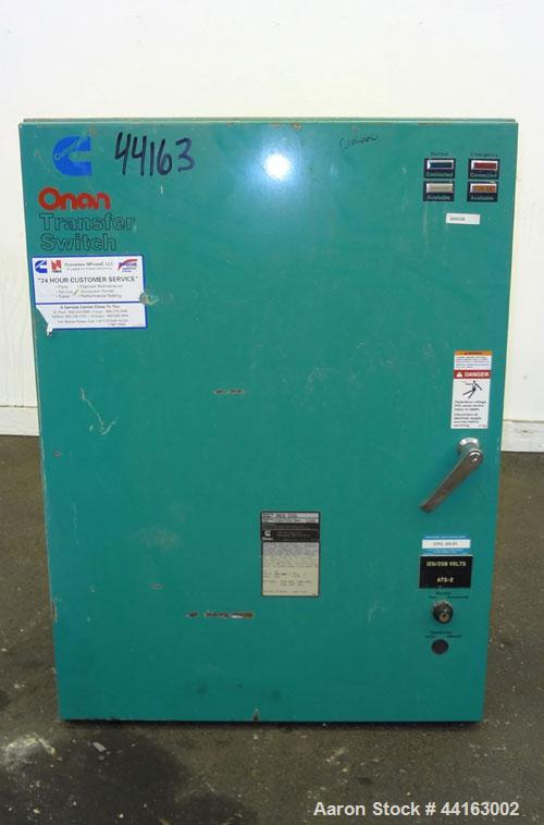 Used- Cummins / Onan 225 Amp Automatic Transfer Switch, model ONCU 225G, serial #G920477456. 3/60/208V. Type 1 enclosure.