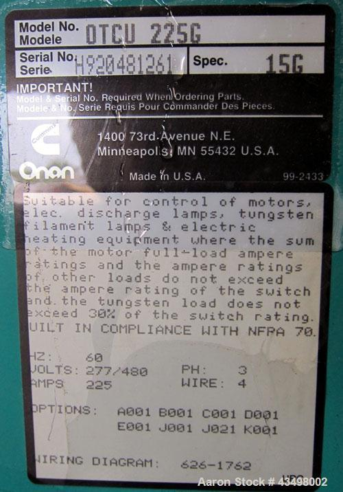 Used- Cummins Automatic Transfer Switch, model OTCU 225G, serial H920481261, 225 amps, 277/480 volts, 3 phase, 60 Hz, year 1...