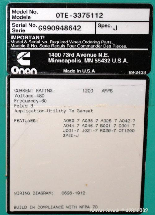 Used- Cummins / Onan 1200 Amp Automatic Transfer Switch, Model OTE-3375112, Serial #G990948642. 3/60/480V. Type 1 enclosure.